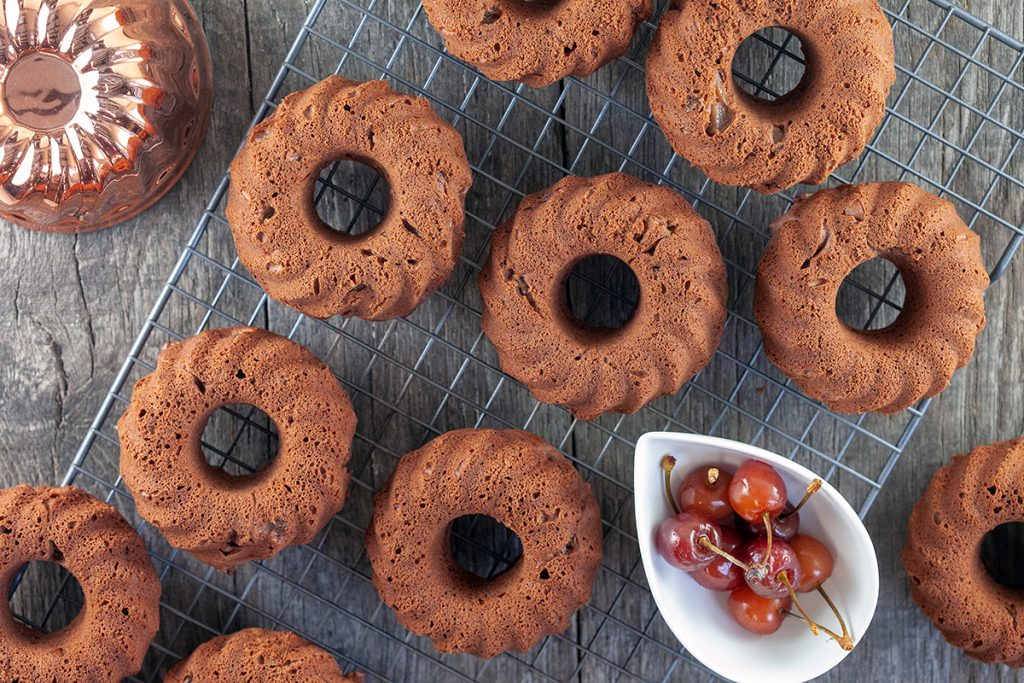 Mini chocolate and cherry bundt cakes