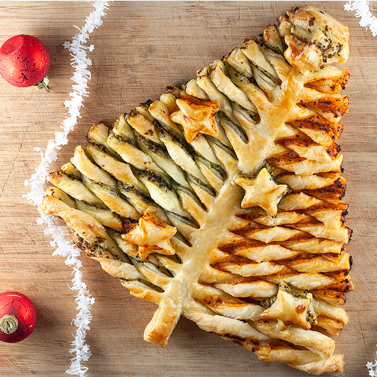 Puff pastry Christmas tree square - Puff pastry Christmas tree