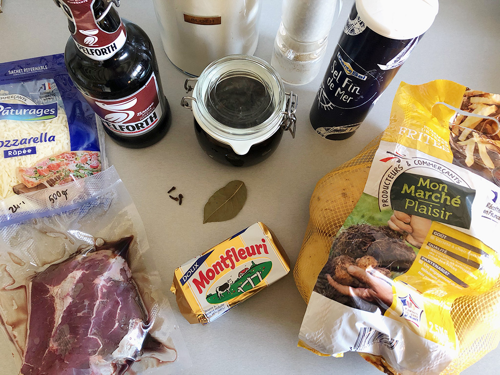 Beef stew poutine ingredients