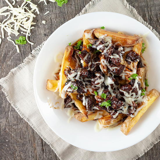 Beef stew poutine square - Beef stew poutine