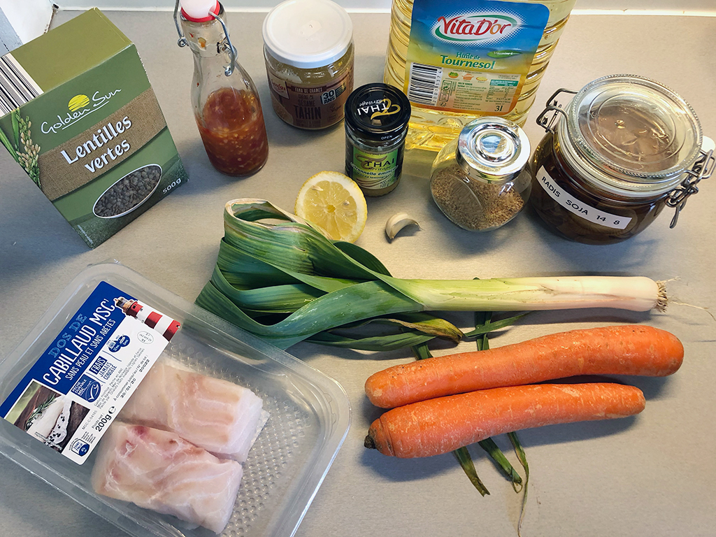 Cod with vegetable stir fry ingredients - Cod with vegetable stir fry