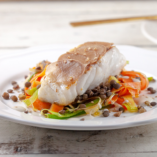 Cod with vegetable stir fry square - Cod with vegetable stir fry