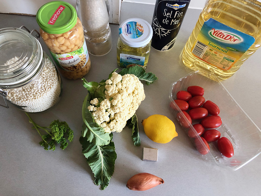 Pearl couscous and cauliflower salad ingredients