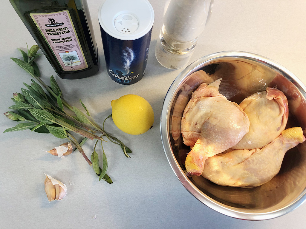 Barbecue sage and lemon chicken legs ingredients - Barbecue sage and lemon chicken legs