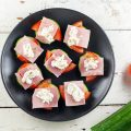 Ham and herbed cheese cucumber bites 120x120 - Brie and soft pear bites