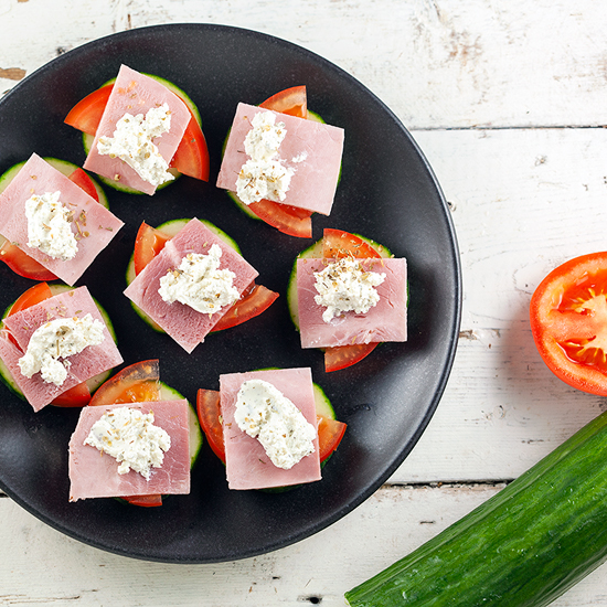 Ham and herbed cheese cucumber bites