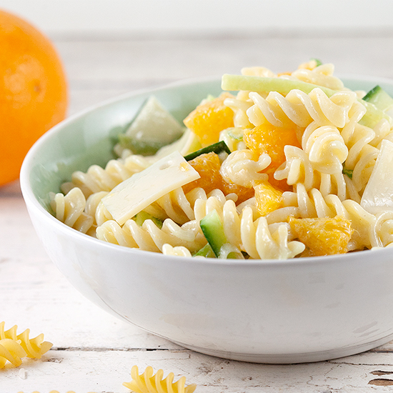 Pasta salad with orange and cheese square - Pasta salad with orange and cheese