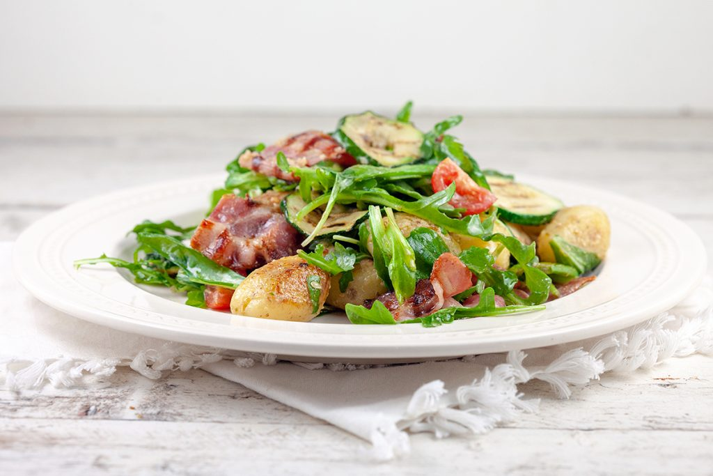 Baby potato and grilled zucchini salad
