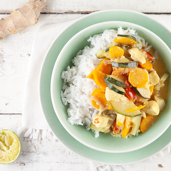 Chicken and zucchini coconut curry square - Chicken and zucchini coconut curry
