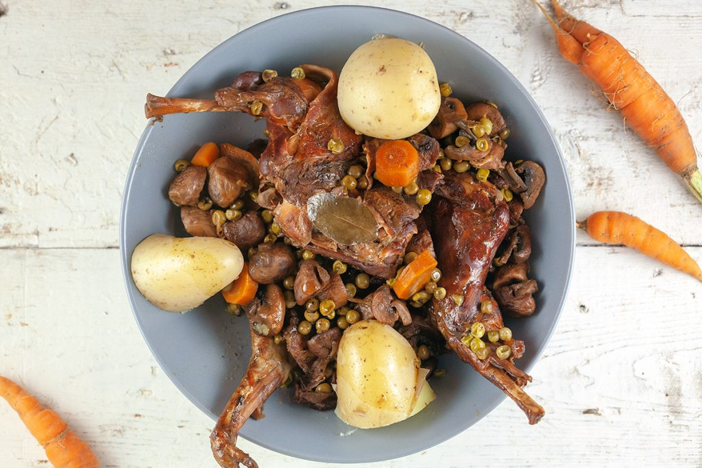 Slow cooker rabbit and orange stew