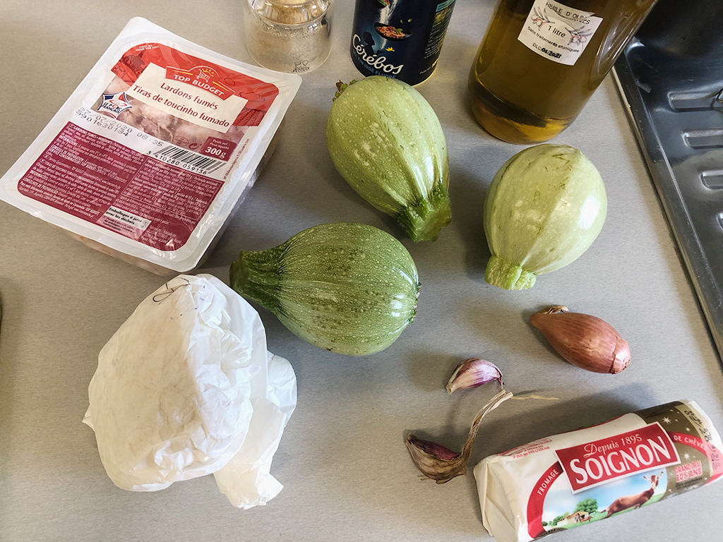 Stuffed zucchini with goat cheese ingredients